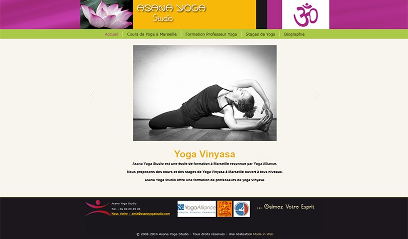 Asana Yoga Studio - un site réalisé par Made in Web