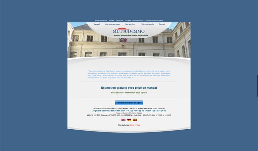 Mutsud Immo - un site réalisé par Made in Web