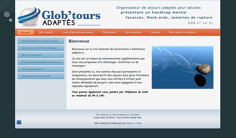 Glob'Tours Adaptés - Un site réalisé et hébergé par Made in Web